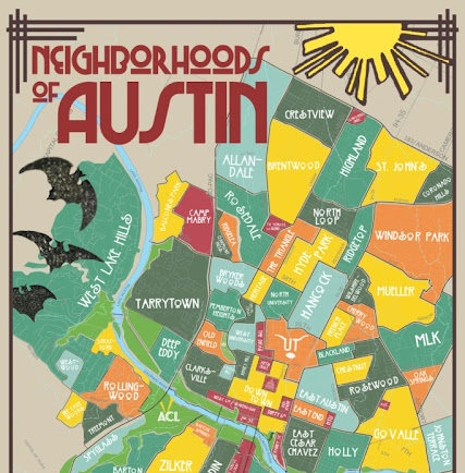This map can purchased at Parts & Labour in Austin, Tx.