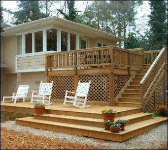 Ideas for the deck patio remodel pinterest for Split level garden decking