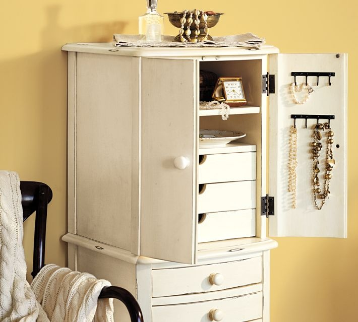 pottery barn charlotte jewelry armoire organizing