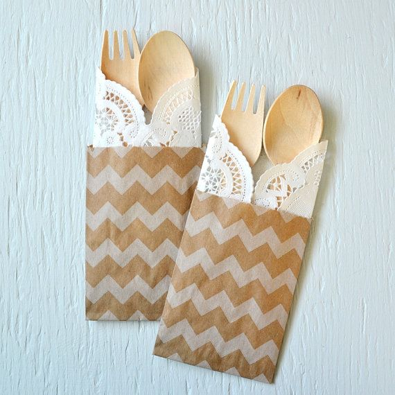 100 wooden cutlery 4-piece kits with CHEVRON bag, fork, spoon, and doily - ecofriendly cutlery set for weddings, parties and showers