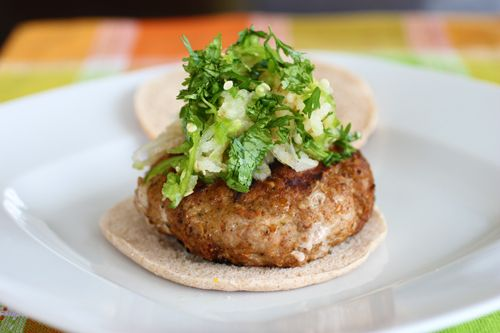 Grilled Turkey Burgers with Pear-Jalapeno Slaw