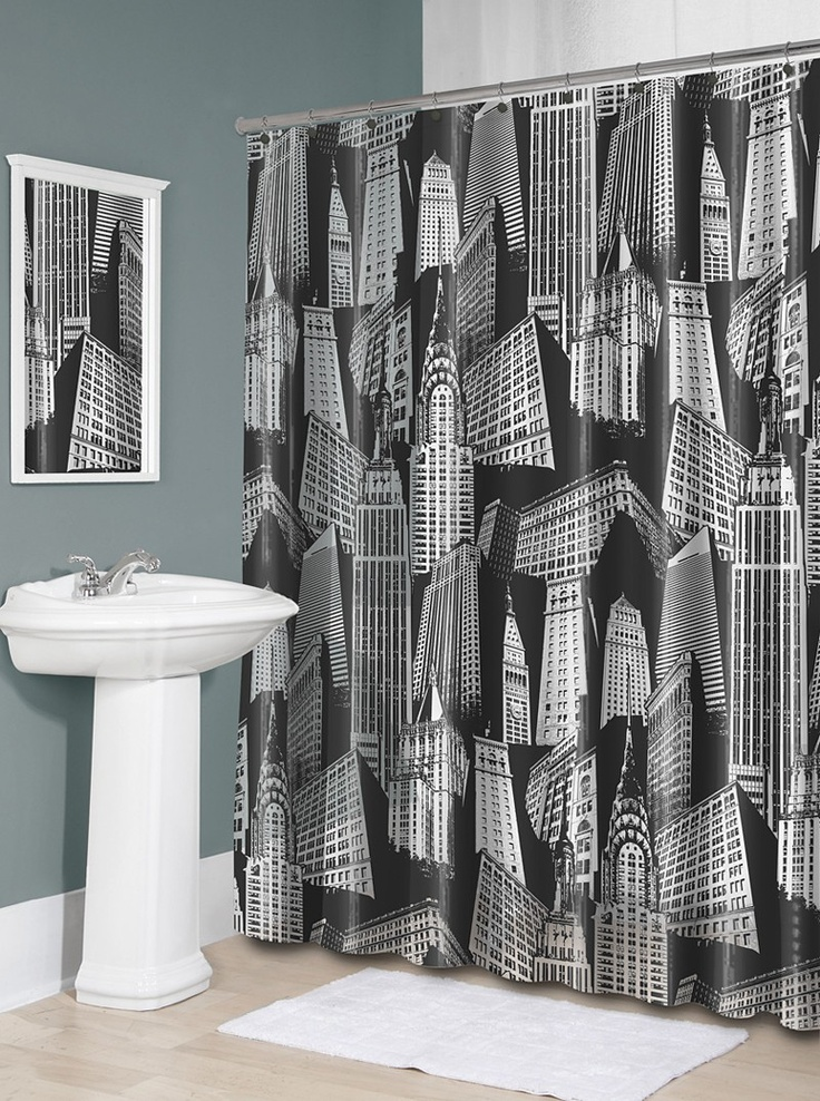 city scape shower curtain | Home Sweet Home | Pinterest