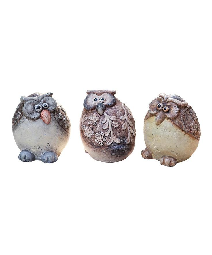 Ceramic Owl Figurine Set