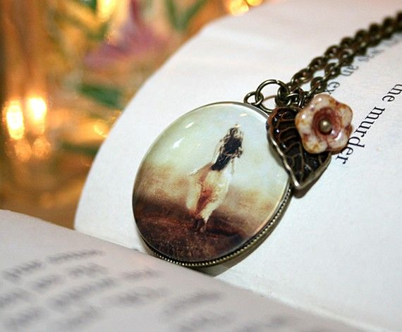 Glow Charm Necklace 18 Inch Chain Antique Brass by ThisYearsGirl, $30.00
