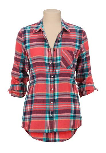 One Pocket high-low Plaid button down Shirt - maurices.com