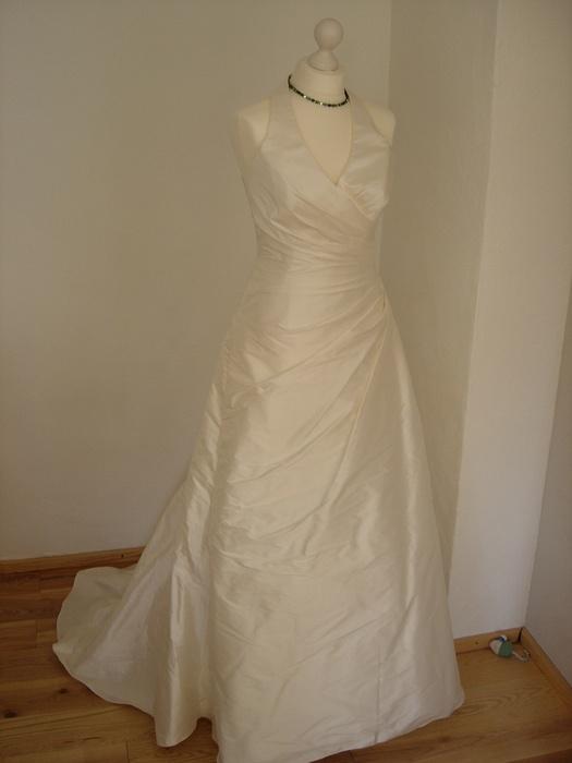 Brautkleid Hochzeitskleid Neckholder Seide Gr 38/40 creme / ivory NEU ...