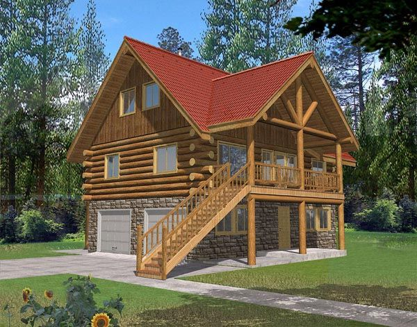 Log house plan 87043 for Log home plans with basement