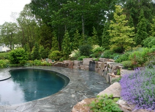 Rock Wall Around Pool Dream Home Ideas Pinterest