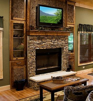 Stone Hearth Rustic Mantle With Tv Fireplaces Pinterest