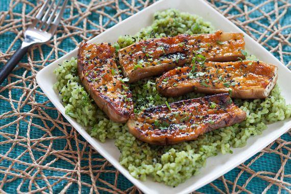 Miso-Glazed Eggplant with Green Tea Rice. Visit http://www.blueapron ...