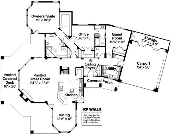 European Florida Ranch House Plan 59733