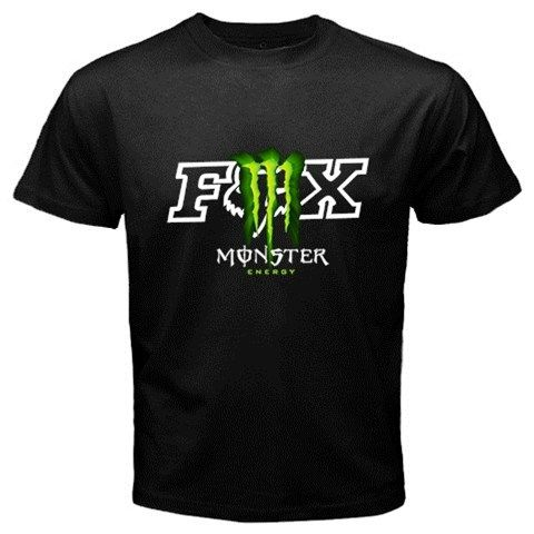 fox racing and monster energy t shirts men black tees size. Black Bedroom Furniture Sets. Home Design Ideas