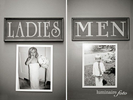 photos of the bride and groom as kids on the bathroom doors - would be better with potty training pics