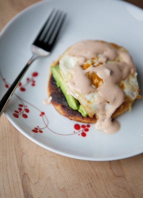 Breakfast arepas with egg & avocado and an adobo a diablo crème sauce