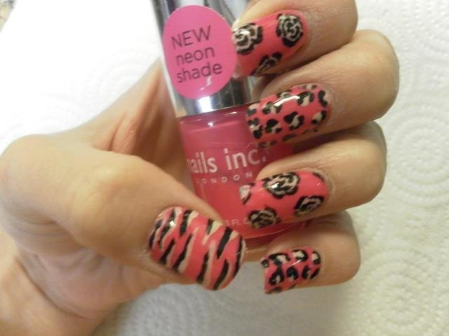 using nails inc colours to create roses, leopard and tiger print