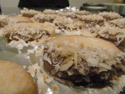 toasted coconut shortbread cookies dipped in chocolate
