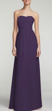 David's Bridal Long Strapless Chiffon Bridesmaid Dress with Pleated Bodice. Style F15555 in Lapis purple.