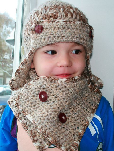 Crochet Pattern For Baby Hat And Scarf : Aviator crochet earflap baby hat FREE scarf Pattern ...