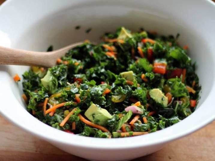 The BEST Kale Rainbow Detox Salad with Lemon Vinaigrette