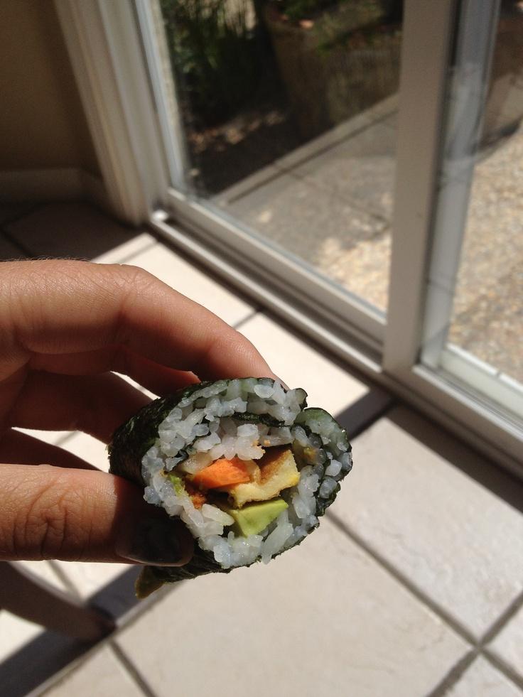 Sushi. Cucumber, carrot, egg and avocado roll #Sushi #Sushimi