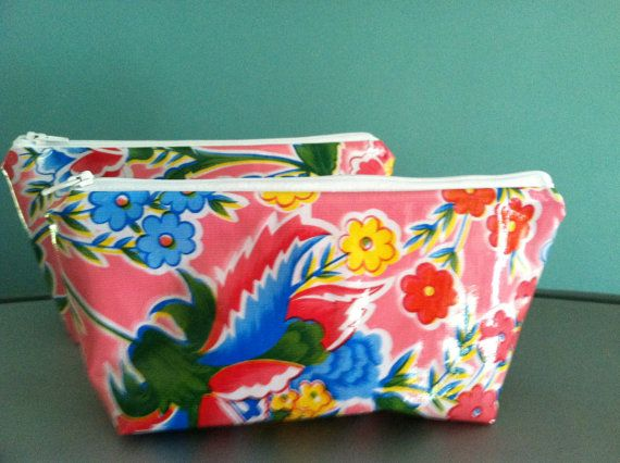 New retro large oilcloth makeup cosmetic zipper pouch clutch wet bag