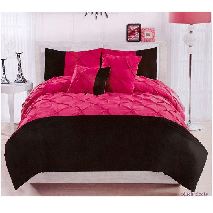 Buat Testing Doang Pink And Black Twin Comforter Sets