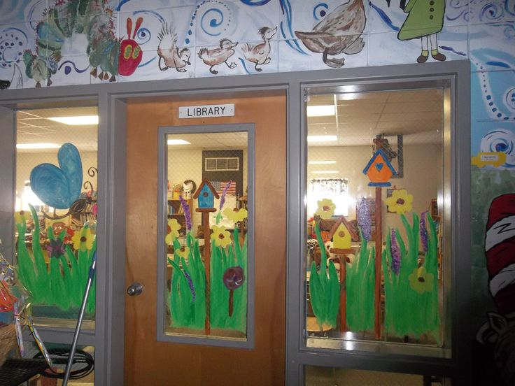 Spring window painting with students little hoot for Art room decoration school
