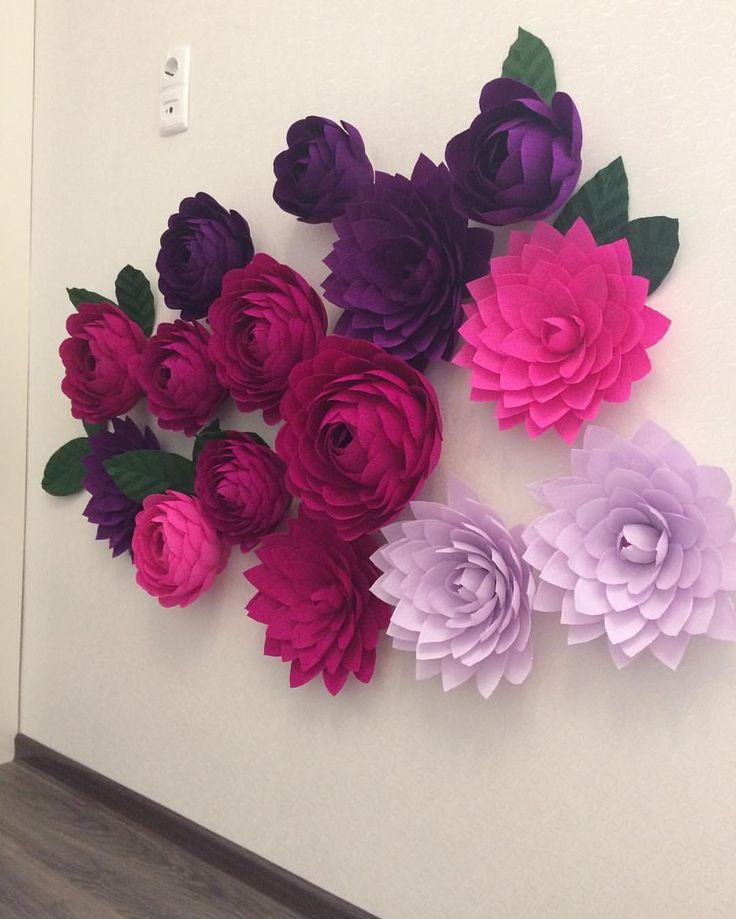 Бумажные цветы своими руками на стену и 71