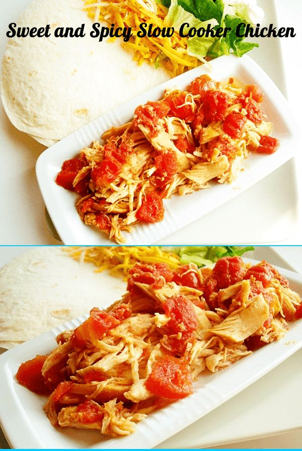 Sweet and Spicy Slow Cooker Chicken | Dinner ideas | Pinterest