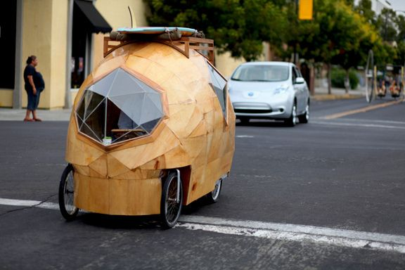 Randomly looking on pinterest at what everyone was pinning and found someone pin a car my cousin designed!  Too cool!  Jay Nelson's micro house that he built on a customized bicycle.