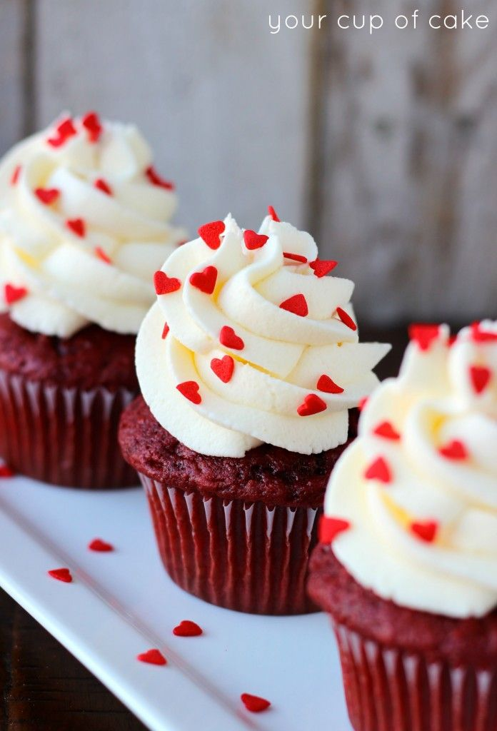 Red Velvet Cupcakes topped with an easy White Chocolate Mousse made from a pudding mix! And yes, you can make this frosting with any type of instant pudding mix.  If you missed my other Red Velvet Cupcakes or Red Velvet Rice Crispy Treats make sure to check them out, you're going to want to make som