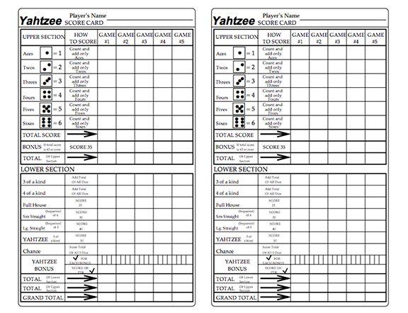 Printable Yahtzee Score Card - C # ile Web\u0027 e Hükmedin! - sample yahtzee score sheet