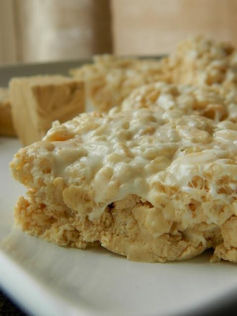 Yum! Peanut Butter Fudge Chunk Rice Krispies Treats!