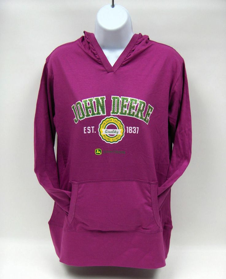 John Deere Est 1837 Fuchsia Jersey Hoodie- XL