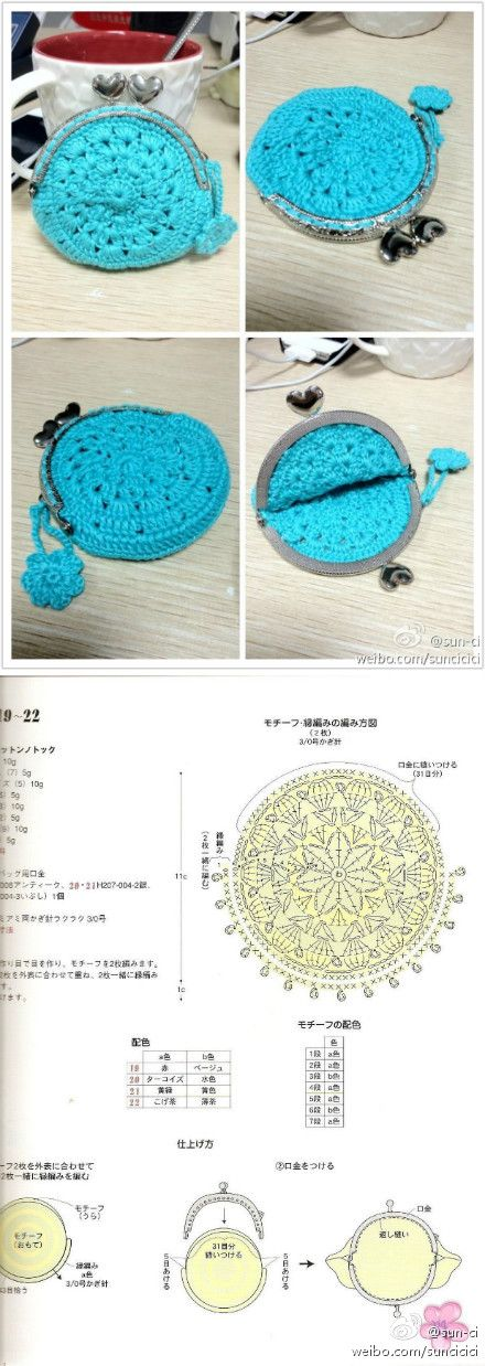 Crocheted purse with chart, free pattern