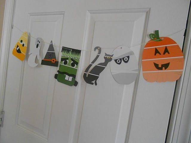 Halloween Garland I made after seeing something on Pinterest made by raiding the paint chips at Home Depot.