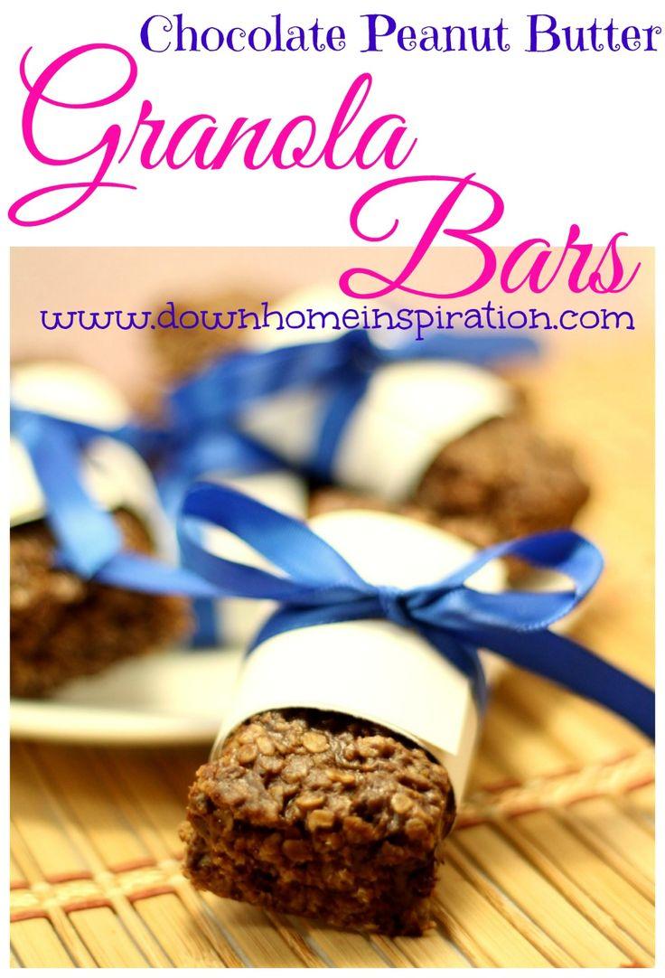Chocolate Peanut Butter Granola Bars | Snacks | Pinterest