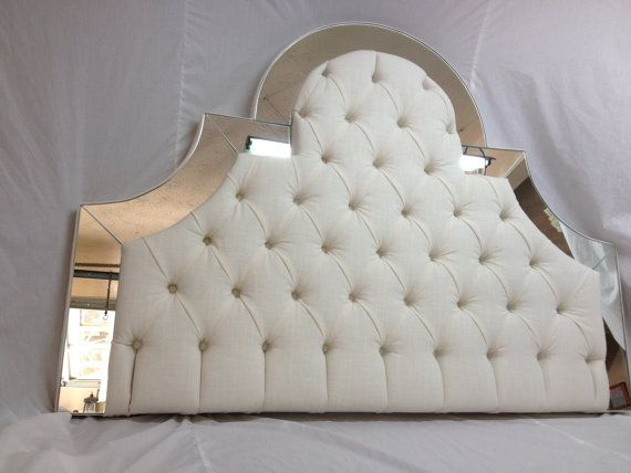 Queen Custom Upholstered Headboard with Mirrors by NewAgainUph