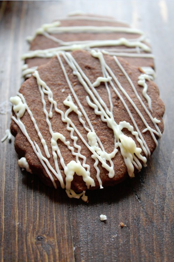 Chocolate Shortbread Cookie Recipe with a white chocolate drizzle!