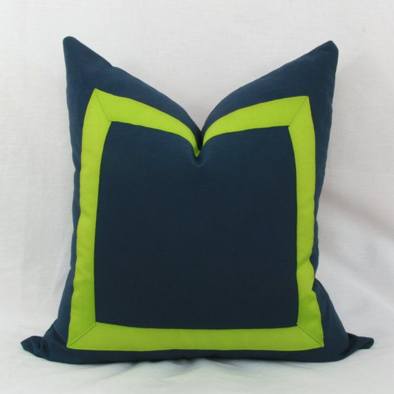 Navy blue & lime green border decorative throw pillow. 20
