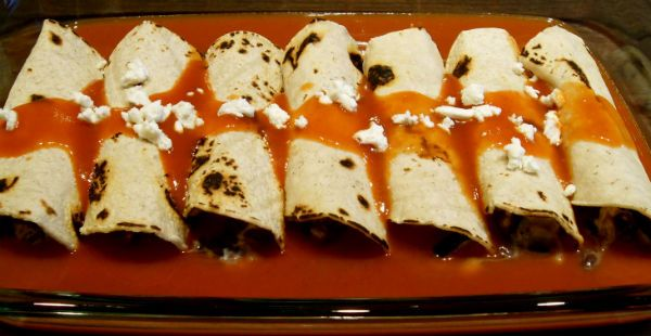 roasted zucchini, black bean and goat cheese enchiladas