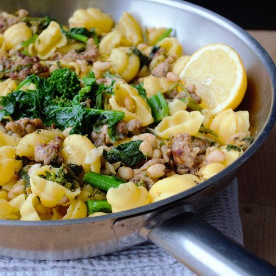 Rapini alla Paesana' pasta with rapini, sausage & beans prepared with...