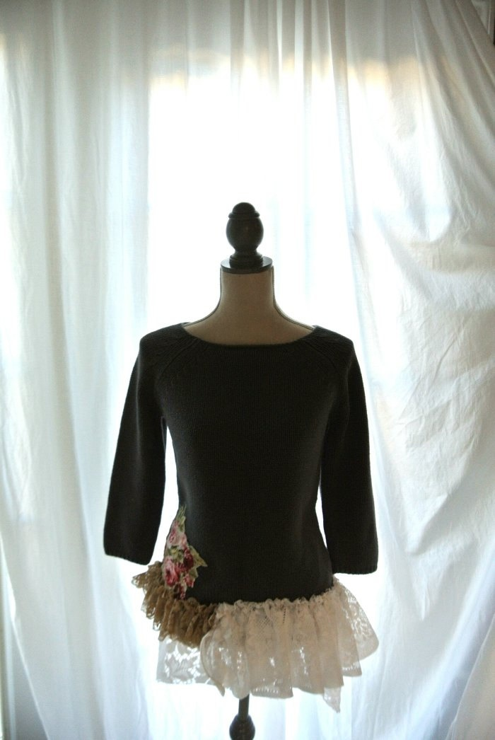 Gypsy cowgirl sweater, shabby lace ruffle, boho sweater, rustic womens