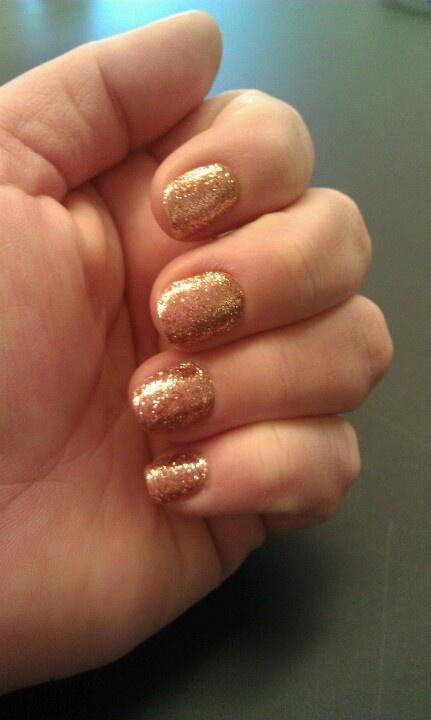 Rose Gold Glitter Gel Nails Pretty Nails Pinterest
