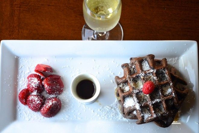 Dark chocolate waffles with coconut and berries!! #recipe