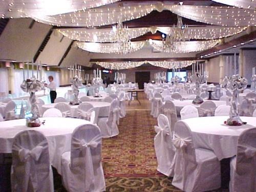 Christmas wedding hall decoration wedding isles pinterest for Christmas hall decorations