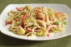 Linguini with Bay Scallops, Chevre and Red Peppers - Pots and Pans