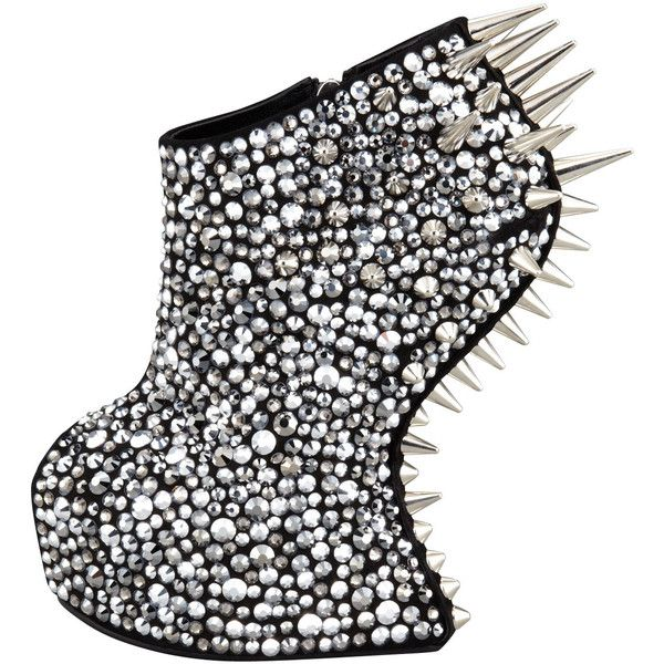 Giuseppe Zanotti Studded Crystal-Covered No-Heel Bootie ($2,950) ❤ liked on Polyvore