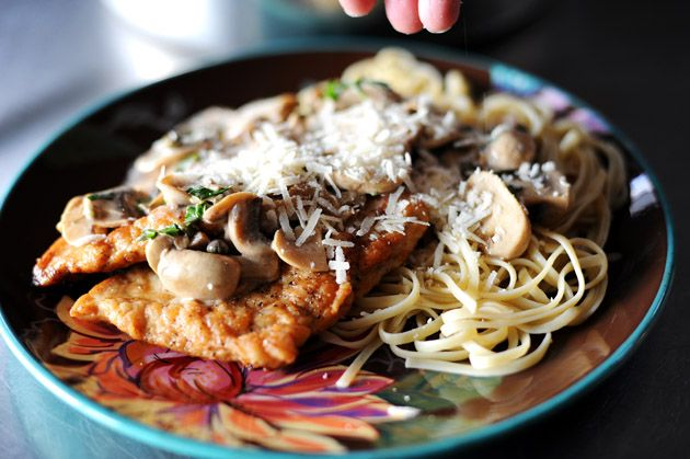 Chicken Scallopine (except I use milk instead of cream, and no capers ...