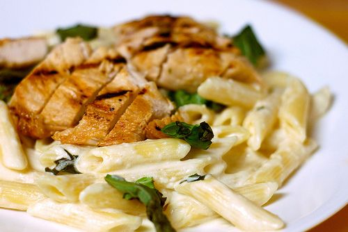 Grilled Chicken and Pasta with Lemon Basil Cream Sauce